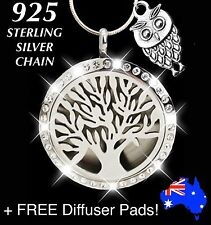 OWL Crystal TREE of LIFE Oil Diffuser Locket 925 Sterling Silver Chain Necklace