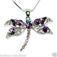 Big Purple w Swarovski Crystal DRAGONFLY Bridal Wedding Jewelry Pendant Necklace