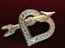 Swarovski Swan Sidned Brooch Crystals Arrow Through Heart