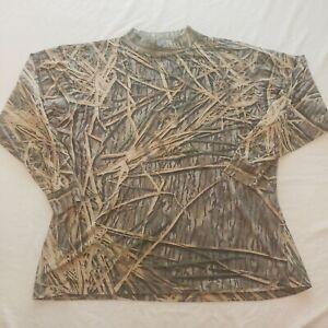 Vintage Mossy Oak Shadow Grass Mock Neck Logo Long Sleeve T Shirt Mens XXL 2X