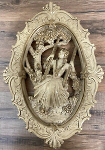 Vintage Hanging Wall Chalkware Plaque Victorian Girl on A Swing Gold Ivory