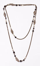 ROMANTIC LONG CHAIN NECKLACE CHIC FLORAL DETAILS BLACK BEADS FAUX PEARLS (ZX27)