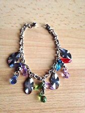 Multicolour Crystal Look Plastic Beads & Charms Dangle Chain Bracelet Adjustable