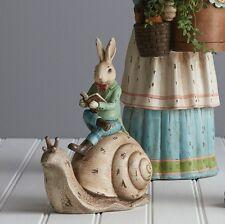Rabbit Riding Snail Spring Garden Bunny Figurine Decor 3710218 NEW RAZ Imports