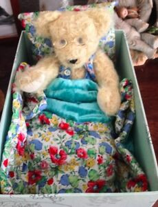 """pam""""s exclusive bear 100% mohair Comes With All His Bedding"""