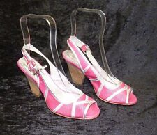 Womens Shellys Summer Pink Fuchsia Peep Toe Sling Back Sandals Size Uk 5 Eu 38
