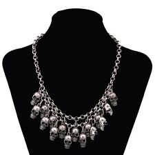 Multi Skull Necklace Drape Collar Bib.Adjustable Heavy Statement.18 to 21 inches