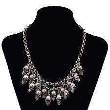 Adjustable Heavy Statement Multi Skull Necklace/Drape/Collar/Bib/18 to 21 inches