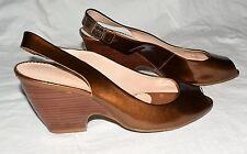 Franco Sarto Copper Brown Patent Leather Peep Toe Slingbacks Size 6.5 M Brazil
