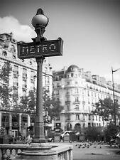 PRINT POSTER PHOTO LANDMARK RETRO METRO SIGN PARIS FRANCE BLACK WHITE LFMP0093