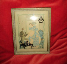 Rare Vintage 1940s Victorian Lovers Silhouette Reverse Glass Painting Wall Art