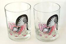 Vintage Kliban Cat in Punchbowl Set of 2 Glass Tumblers by Tastesetter Cups