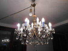 LUSTRE A PAMPILLES CRISTAL  12  BRANCHES SUPERBE