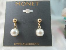NWT MONET GOLD & PEARL DROP DANGLE EARRINGS, Signed, Lovely