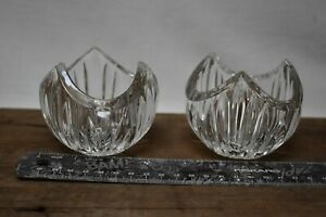 Pair Of Lead Crystal Candle Holders Taper Votive Candle Holders