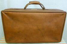 Vintage HARTMANN Brown Tan Leather BELTING Woodbox Suitcase Luggage 21x12x7