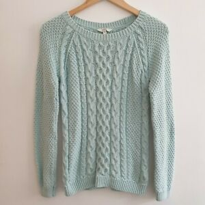 Fat Face Women Size 10 Mint Green Cable Knit Cotton Jumper Sweater Winter Casual