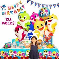 Baby Little Shark Party Supplies - 125Pc Birthday Decor Set - By: Momma Shark