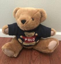Vintage POLO Ralph Lauren Plush Teddy Bear 1997 Trademark Polo Sweater