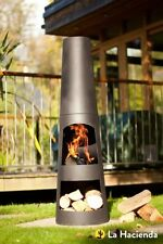 La Hacienda Circo Steel Chimenea Chiminea and Log Store in Black NEW BOXED