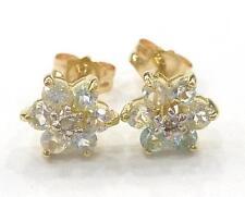 10KT YELLOW GOLD NATURAL AQUAMARINE & DIAMOND PLUM BLOSSOM STUD EARRINGS    E819