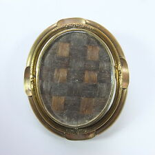 Antique Victorian Large Pinchbeck Mourning Hair Photo Locket Swivel Brooch
