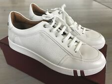 $600 Bally Wiktor White Leather Sneakers size US 7.5 Made in Italy