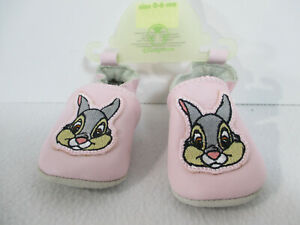Disney Baby Shoe Thumper Bunny Moccasin Leather Pink 0-6 Month Soft Sole New