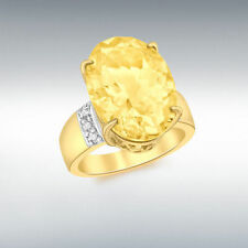 Citrine Solitaire Oval Yellow Gold Fine Gemstone Rings