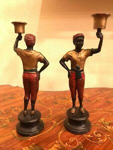 Vintage Art Deco Pair 2 Baroque Nubian Blackamoor Candle Holder Bronze Figurines