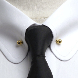 Tiny Ball Design Men's 925 Yellow Gold Finished Silver Men's Collar Tips Pin