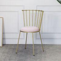Nordic Style Pink Velvet Cushion Gold Linear Backrest Dressing Table Chair Stool