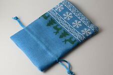 """Christmas Blue Faux Linen Gift Bag Dice Bag Counter Pouch Large 4""""x6"""" Holidays"""