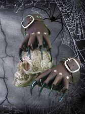 Brown Leather Black Claw Gauntlets Gothic Gloves