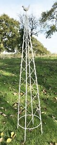 White Metal Obelisk Climbing Rose Plant Garden Support Frame Bird 127cm