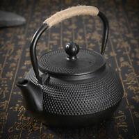 0.8L Black Japanese Tetsubin Style Cast Iron Tea Pot Kettle Teapot Drinkware Art