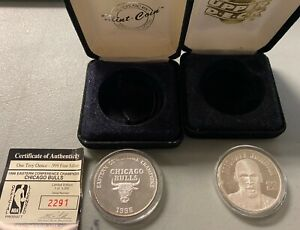 LOT (2) Michael Jordan & Bulls 1996 Conference Finals Limited .999 Silver Coins