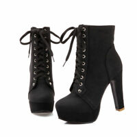 Womens Ankle Boots Round Toe Block Chunky High Heels Lace Up Platform Shoes 2019