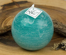 "Teal Ball Candle 3"" Rustic Round Pillar Candle"