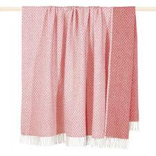 Decke MADISON pink Web-Muster 150x200 cm mit Fransen Wohndecke Plaid
