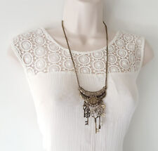 "Boho style 24"" long antique-look gold tone lock & key charm necklace / chain"