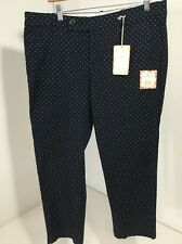 DOCKERS SUMMER STRETCH CROP PANTS NAVY W/WHITE POLKA DOTS SZ 16 $48 NWT