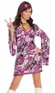 Retro Costume Purple Paisley Bell Sleeved Dress Satin Hair Band 1960s 1970s 9586