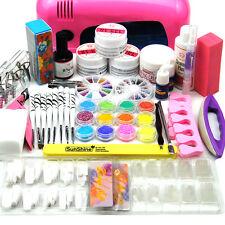 9W UV Lamp Light Cure Dryer Gel Polish Nail Art Tips Shiny Glitter Tips Kit Set