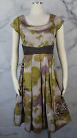 Anthropologie Floreat Travessia Floral Embroidered Purple Green Dress SZ 8