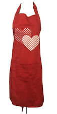 Double Heart Cotton Red Apron With Pocket And Adjustable Strap. NEW.