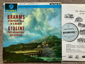 BRAHMS Symphony 1 ...GIULINI Columbia SAX 2420 B/Silver    NM