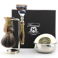 Barber Shaving Brush Kit Badger Black Hair Acrylic Stand Bowl Soap Clean Shave