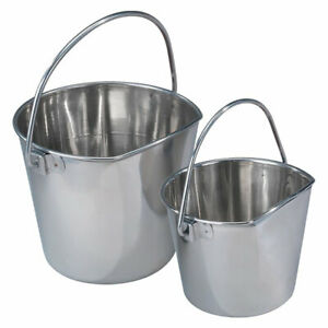 Flat Sided Hanging Feeding Pail Snag Free Heavy Duty Stainless Steel Choose Size