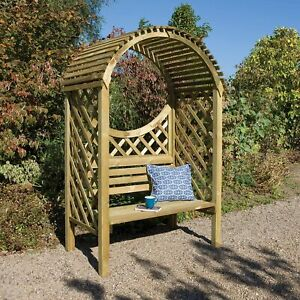 Keswick Garden Arbour Seat Bench with Lattice Pressure Treated